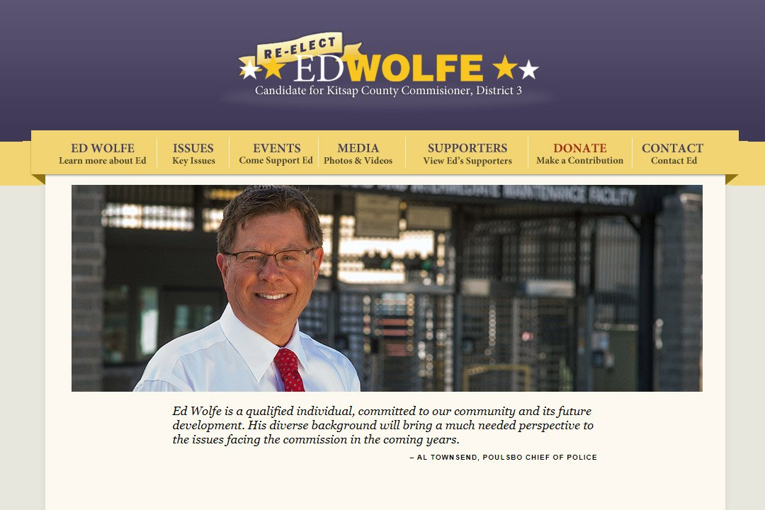 Re-elect Commissioner Ed Wolfe